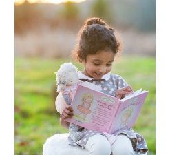 Who's a Pretty Girl Book and Elsie Doll Bundle Gift Fils Book Reading Doll Plush Pink Tutu