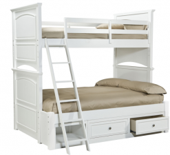 Legacy Classic Kids Madison Twin over Full Bunk Bed with Underbed Storage | Natural White