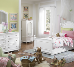 Legacy Classic Kids Madison Panel Twin Bed, Nightstand, Trundle, and Dresser with Mirror | Natural White