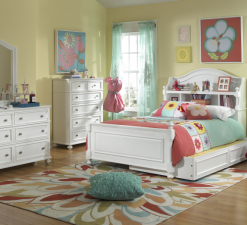 Legacy Classic Kids Madison Full Bookcase Bed, Trundle, Nightstand, Dresser with Mirror, and Drawer Chest Natural White