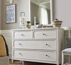 Universal Furniture Smartstuff Alabaster White Cream Wire Brushed Oak Veneers Hidden Storage Drawer Dresser Bedroom Nursery Storage