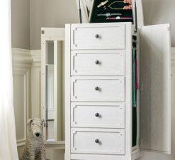 Universal Furniture Smartstuff Alabaster White Cream Wire Brushed Oak Veneers Hidden Storage Drawer Dresser Bedroom Nursery Storage Tall Chest