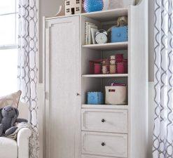 Universal Furniture Smartstuff Alabaster White Cream Wire Brushed Oak Veneer Bedroom Nursery Storage Armoire