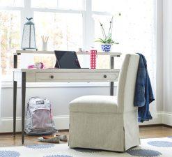 Universal Furniture Smartstuff Alabaster White Cream Wire Brushed Oak Veneer Office Desk Study