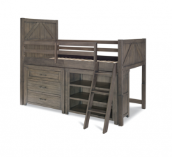 Legacy Classic Kids Bunkhouse Mid Loft Twin Bed with Single Dresser and Bookcase | Aged Barnwood