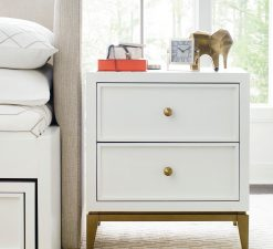 Legacy Classic Kids Chelsea by Rachael Ray Night Stand White with Gold Accents Children's Bedroom Furniture Kids Room Simple Elegant Unique Upscale Fancy