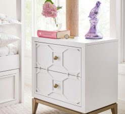 Legacy Classic Kids Chelsea by Rachael Ray Night Stand with Decorative Lattice White with Gold Accents Children's Bedroom Furniture Kids Room Simple Elegant Unique Upscale Fancy