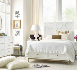 Legacy Classic Kids Chelsea by Rachael Ray Panel Full Bed White with Gold Accents Children's Bedroom Furniture Kids Room Simple Elegant Unique Upscale Fancy Bedroom Dresser Nightstand Mirror Stool Bedroom