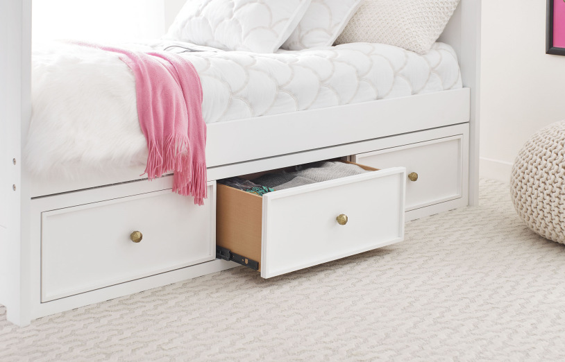 Legacy Classic Kids Chelsea by Rachael Ray Underbed Storage Drawer White with Gold Accents Children's Bedroom Furniture Kids Room Simple Elegant Unique Upscale Fancy Bedroom