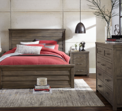 Legacy Classic Kids Bunkhouse Louvered Panel Queen Bed Aged Barnwood Bedroom Children's Furniture Kids Room Farmhouse Rustic