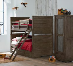 Legacy Classic Kids Bunkhouse Twin over Twin Bunk Bed Aged Barnwood Children's Furniture Rustic Farmhouse Kids Room bedroom