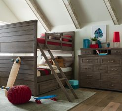 Legacy Classic Kids Bunkhouse Full over Full Bunk Bed Aged Barnwood Children's Furniture Rustic Farmhouse Kids Room