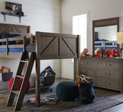 Legacy Classic Kids Bunkhouse Mid Loft Twin Bed Aged Barnwood Children's Bedroom Furniture Rustic Farmhouse Kids Room Bunk Bed