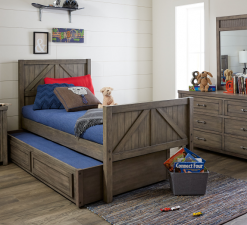 Legacy Classic Kids Bunkhouse Trundle Aged Barnwood Children's Furniture Kids Room Bedroom Storage Spare Bed Farmhouse Rustic Urban