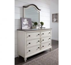 Legacy Classic Kids Brookhaven Youth Arched Mirror and Dresser | Vintage Linen & Rustic Dark Elm