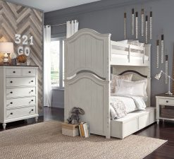 Legacy Classic Kids Brookhaven Youth Drawer Chest, Twin over Twin Bunk Bed, Nightstand, and Trundle | Vintage Linen & Rustic Dark Elm