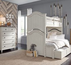 Legacy Classic Kids Brookhaven Youth Drawer Chest, Twin over Full Bunk Bed, Nightstand, and Trundle | Vintage Linen & Rustic Dark Elm
