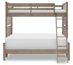 Legacy Classic Kids Farm House Mansion Twin Over Full Bunk Bed | Old Crate Brown