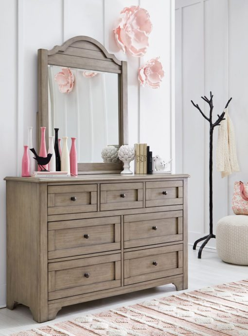 Legacy Classic Kids Farm House Arched Dresser Mirror | Old Crate Brown