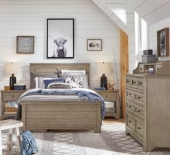 Legacy Classic Kids Farm House Bureau, Open Nightstand, and Mansion Full Bed | Old Crate Brown