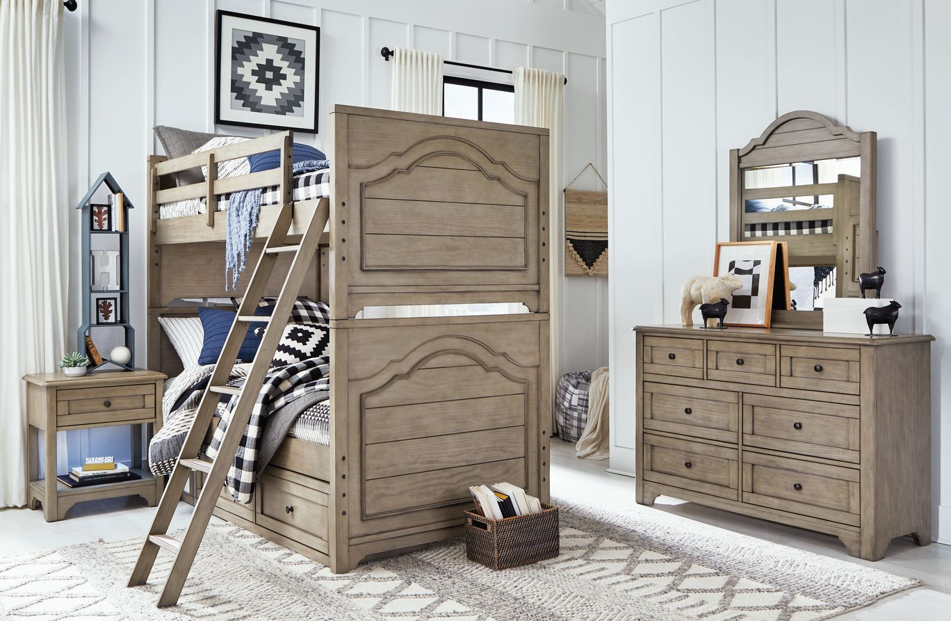Picture of: Legacy Classic Kids Farm House Mansion Twin Bunk Bed Old Crate Brown Cuddlebugzz