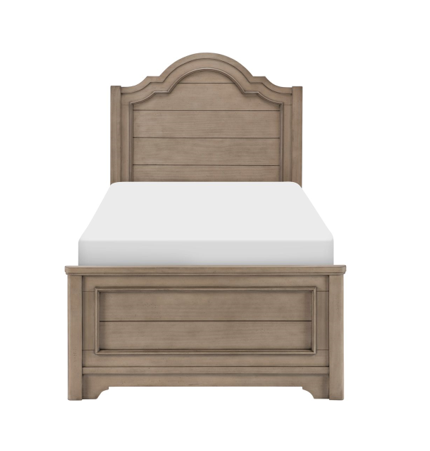 Legacy Classic Kids Farm House Arched Twin Panel Bed | Old Crate Brown