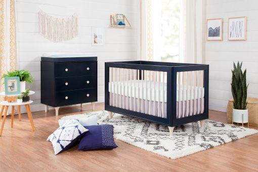 Lifestyle Navy and Natural Wood Crib Nursery
